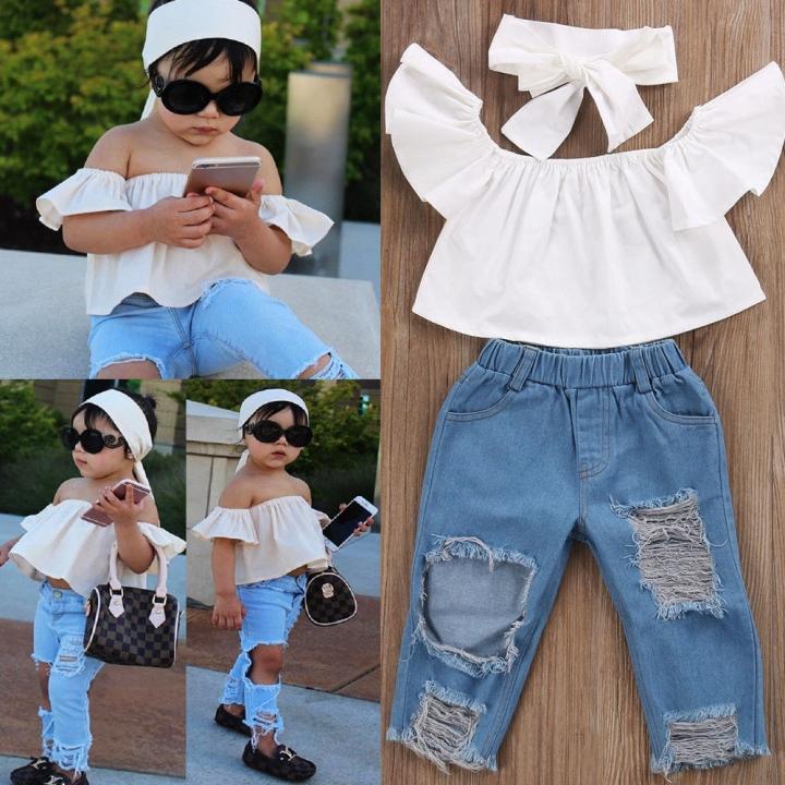 5ca6145d9 Toddler Girls Kids Off Shoulder Tops Denim Pants Jeans 3pcs Outfits Set  Clothes GX667A blue 100