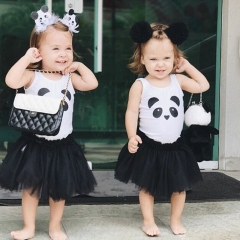New Panda Baby Girl Princess Dress Baby Sundress Lace Party Dress Outfit Clothes ZM161A black 100