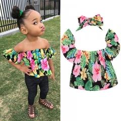 Baby Girls shirt  Summer Short Sleeve Tops+headband Toddler Kids Suit Clothes GD129A green 80