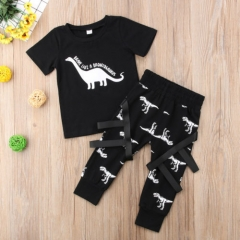 Toddler Kids Baby Boy Cotton Tops T-shirt Cartoon Dinosaur Pants Legging Outfits MN019A black 80