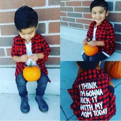 baby girl boy clothing plaid red black tee shirts fall tops kids clothes GG333A red 90