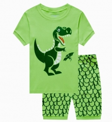 2PCS Baby Boys' Clothes Set Dinosaur Shark Print Short Sleeve Top + Shorts Set CR042A green 2