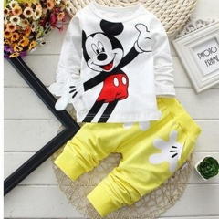 Baby Boys Clothing Set Cartoon Mickey Clothes Sets T-Shirt+Pants Sport Suit XB102D yellow L