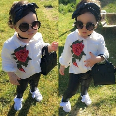 New Rose Flower White Blouse+PU Leather Pants Kids Girl's Clothing Sets GX586A white 90