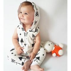 Infant Baby Boy Kid Clothing Hooded Sleeveless Romper Arrow Zi XY120A white 70