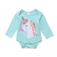 Babykleding Peuter Baby Meisjes eenhoorn Ruches Lange Mouwen Romper Jumpsuit Kleding Outfit GL300A blue 90