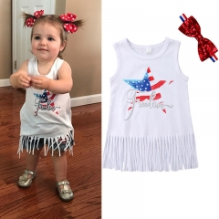 Independence Day Baby Girls Sleeveless Costume Princess Dress W/Headband Outfits ZM172A white 100