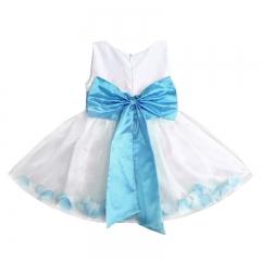 Flower Girl Dress Rose Petals Formal Wedding Bridesmaid Party Gown Sz 2-7Y blue GX250B 100