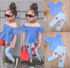 Girls' Solid Floral Clothing Set, Rayon Polyester Short Sleeves Chinoiserie Street chic Blue GX609A blue 2