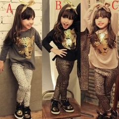 Hot style girls leopard print suit fashionable cotton casual leggings + leopard top XS010B black 100