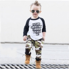 Boys' Daily Sports Print Color Block Patchwork Clothing Set, Cotton Long Sleeves Simple Casual GH189A army green 80