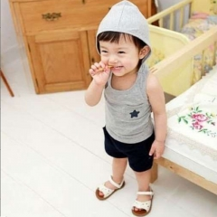 Baby Boys Girls Clothing Set Toddler Outfit Vest Shirt+Short Pants Kids Clothes GX244A gray 100