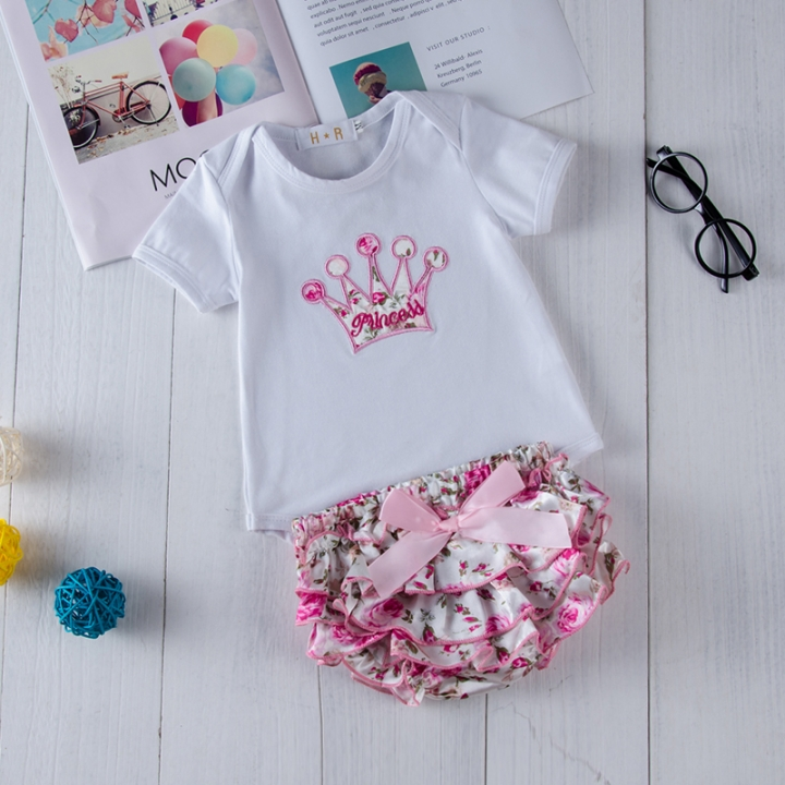 0d33e43f1d Baby Girls Clothing Set Summer Toddler Outfit Tops Shirt+shorts pink  GGG020A s