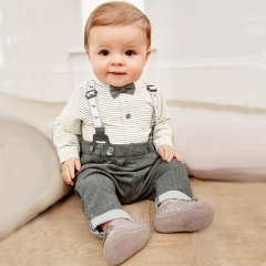 Children's clothing Boy Toddler shirt Top+Pants Overalls Set Outfit GX571A gray 70