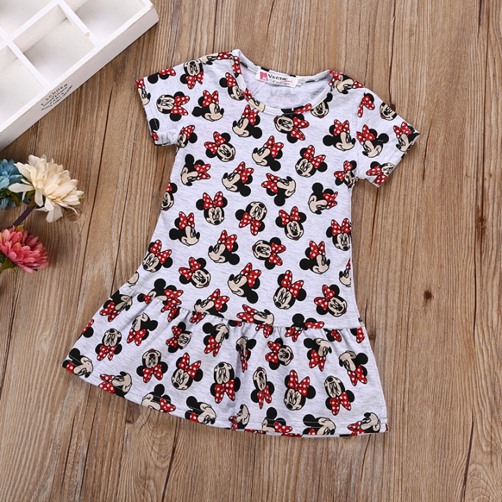 Baby Girl Mikey Mouse long top Girl Summer Clothing Short Sleeve Casual white GL102A 100