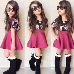 Baby Kids Girl Clothing Princess Dress Party Casual Summer Dress fuchsia GX248A 120