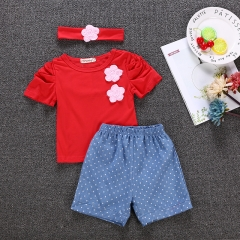 Girl Clothing Toddler Outfit Clothes Kids Baby Girls Clothing Set GX155A red 90