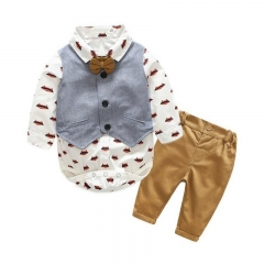 Boutique Gentleman Infant Boys Bow Tie Romper+Bib Pants+Vest Formal Suit white HH016A 70