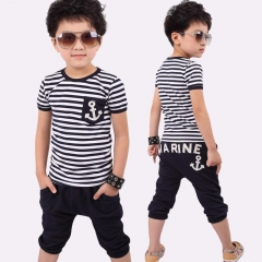 Baby Boys Clothing Sets Navy Blue Toddler Outfit T-Shirt+Pants Marine Outfits royal blue GL022A 130