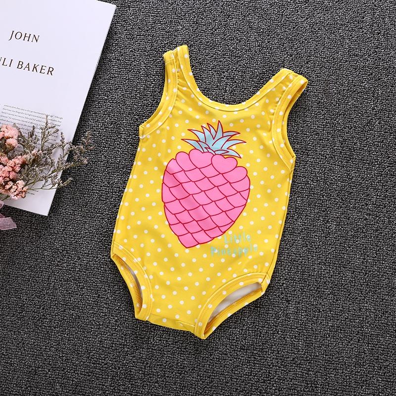 5a16495229fe Baby Girls Romper Yellow Dot Sleeveless Little Pineapple Print ...