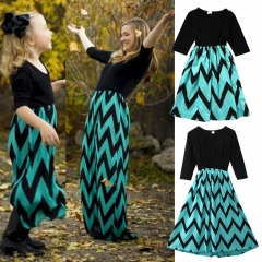 Mother Daughter Dresses Woman Baby Girl Princess Dress Family Clothing dark green GL201AB s-mother