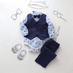 Infant Baby Boys Formal Suits Light Blue Diamond Bowtie Romper Vest Pants 3pieces Clothing Sets royal blue HH021A 70