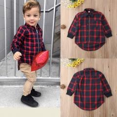 Kids Baby Girls Boys Plaid T-Shirt Long Sleeve Top Zipper Coat Jacket Clothes red GD195A 80