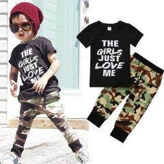 Kid Baby Summer Clothes Set Short Sleeves Black Tops + Camouflage Trousers 2PS Children Clothing set army green GD106A 80