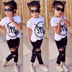 2Pcs Toddler Kids Girls Cotton Style T-shirt Tops Pants Leggings Outfits Clothes white GGG216A 100