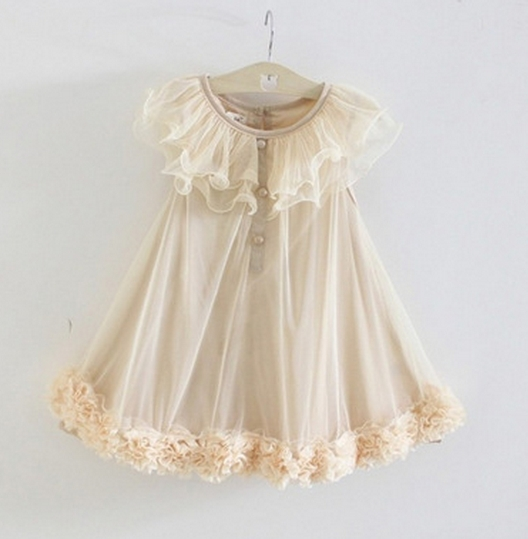Baby girl Dress Kids Boutique Clothes Princess Wedding Party Birthday Dresses khaki GX009B 110
