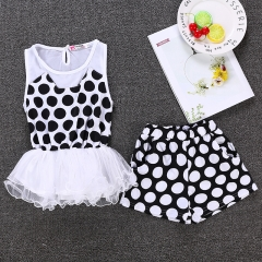 Cute Baby Girl's Summer Outwear T-Shirt+short Clothing Sets outfits black GX006A 120