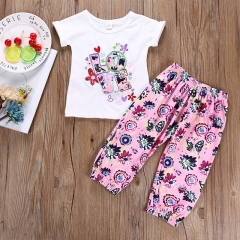 2PCS Toddler Baby Kids Girl Tops T-Shirt+Floral Pants Summer Outfit Set Clothes pink GH340A 90