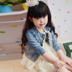casual design winter girl kids lace botton denim jacket dresses coat royal blue GX442A 100