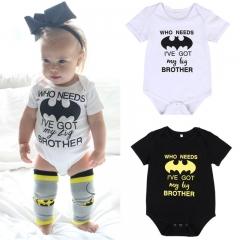 Baby Batman Romper Overall Short Sleeve Onesies Unisex Jumpsuit white ZM009A 70