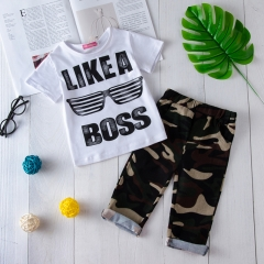 Newborn Baby Boys Girls Clothing Set Boutique Toddler Outfit 2pcs Shirt+Pants army green WWW114A 90