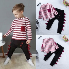 2PCS Cool Baby Kids Boys Clothing Set Baby Cotton Long sleeve Top + Pants Kid Outfit wine GH389A 90