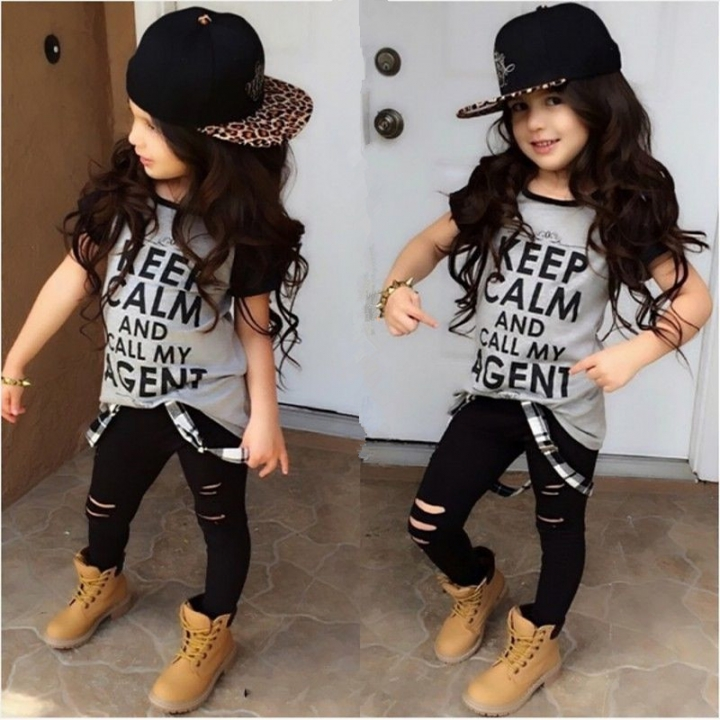Kid Girls Clothing Set Baby Summer Clothes Toddler Outfit Grey Shirt tops+Pants light gray GG033A 90