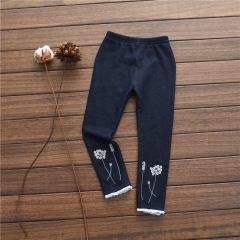 Girls Jeans Kids Clothes Children Clothing Casual Elastic Waist Ripped Denim Pants Trousers GX592B royal blue 100