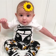 2PCS Newborn Toddler Baby Girls Boys Tops Romper + Pants Outfits Clothes set white GC226A 70