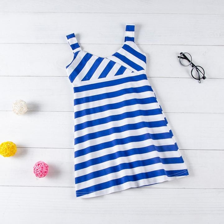 Baby Girl Striped Vest Shirt Casual Dresses Todder Kids Sundress royalblue GX092B 100