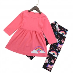Baby Kids Fashion Clothing Set Dress Shirt+Rainbow Pants Girl Clothes GH162A red 90