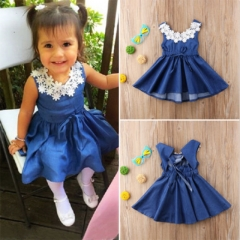 Girl's Daily Holiday Solid Jacquard Dress, Nylon Spring Summer Sleeveless Cute Active Blue GG339A blue 90