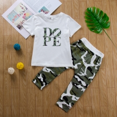 Baby Boys Clothing Sets T-shirt Dope Print Tops+Camouflage Pants 2pcs Vogue Kids Clothes Suits white GC250B 100