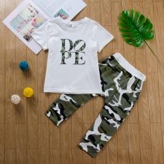 Baby Boys Clothing Sets T-shirt Dope Print Tops+Camouflage Pants 2pcs Vogue Kids Clothes Suits white GC250B 120