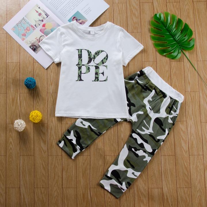 Baby Boys Clothing Sets T-shirt Dope Print Tops+Camouflage Pants 2pcs Vogue Kids Clothes Suits white GC250B 90