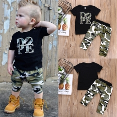Baby Boys Clothing Sets T-shirt Dope Print Tops+Camouflage Pants 2pcs Vogue Kids Clothes Suits black GC250A 90