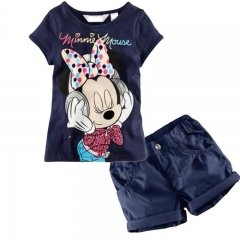 Baby Girl Clothing Baby Minnie Mouse Summer Clothes Set 2pcs Outfit Kids Suit royal blue GZ024A 110
