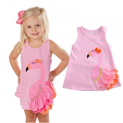 Baby Girl Swan Dress Toddler Pink Striped Cartoon Flamingo Animal Dress Children Girls Clothes pink GGG042A 100