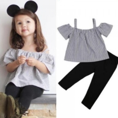 Baby Girls Clothing Suits SleevelessTops+Pants 2pcs Bebe Girls Clothes Sets gray GGG061ABXB060A 80