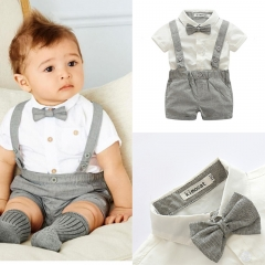 3pc Baby Clothing Set Party Wedding Birthday Costume Kids Clothes gray GX537A 70